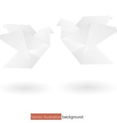 Couple white origami bird background vector
