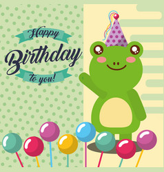 Cute animal happy birthday vector