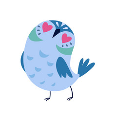 cute blue owlet with heart shaped eyes adorable vector image