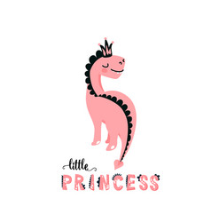Cute dino with beautiful pink vector