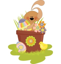 Cute Easter with rabbit vector image