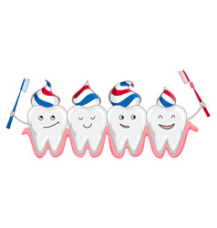 cute happy smiling tooth with toothbrush and vector image