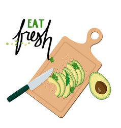 Cutting board with slices avocado simple vector