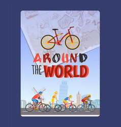 Cycling tour around world typography brochure vector