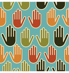 Diversity hands seamless pattern vector image