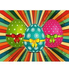Easter eggs over retro starburst vector