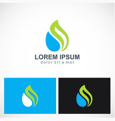 Eco green leaf water drop logo vector