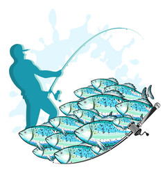 Fisherman with fishing rod and fish vector