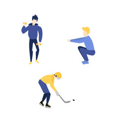 Flat adult men doing exercise sports set vector