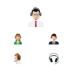 Flat center set of help earphone secretary and vector