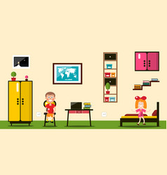 flat design room boy and girl inside house vector image