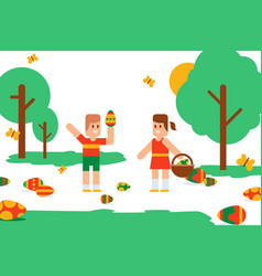 Flat easter kids search festive colorful eggs in vector