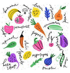 fruits and veggies vector image