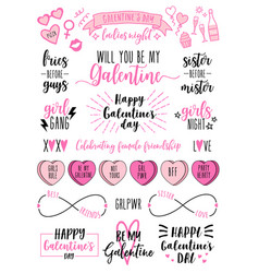 galentines day cards womens day feminist doodle vector image