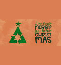 Green christmas card recycle symbol pine tree vector