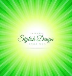 Green sunburst background vector