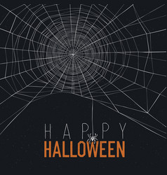 Halloween background with spider web and text vector