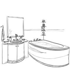 Hand drawn Bathroom Furniture sketch vector image