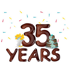 happy birthday thirty five 35 year vector image