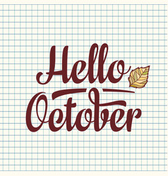 hello october text retail message best for sale vector image