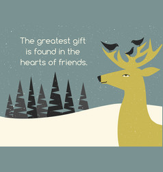 Holiday greeting card with deer and bird friends vector