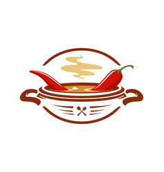 Hot chili soup with red pepper icon vector