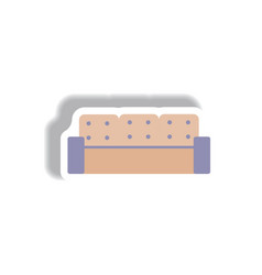 In paper sticker style sofa vector