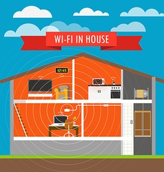Internet connection in house infographics scheme vector image
