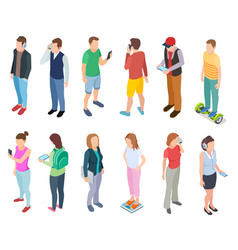 Isometric young people 3d man speaking smartphone vector