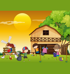 kids doing different chores in the farm vector image