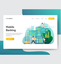 landing page template mobile banking concept vector image