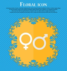 male and female Floral flat design on a blue vector image