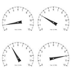 Manometer set of black scales vector