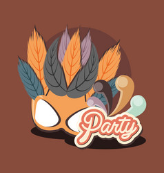 mask carnival feathers carnival retro party vector image
