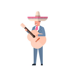 mexican man with guitar in traditional clothes and vector image