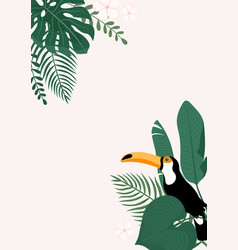 modern vertical banner with tropical leaves vector image