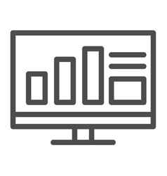 monitor with graph line icon computer with chart vector image