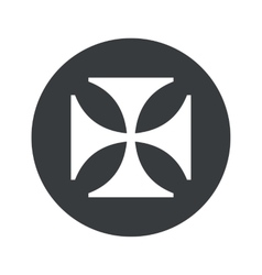 Monochrome round maltese cross icon vector