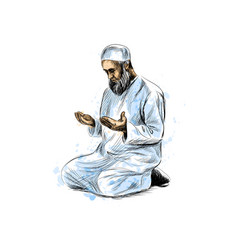 Muslim man praying hand drawn sketch on white vector