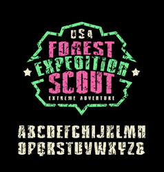 Narrow sanserif font and camp emblem for t-shirt vector