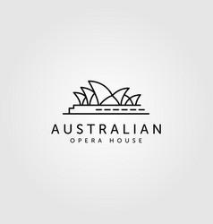 Opera house line art logo australian landmark vector