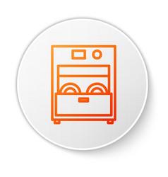 Orange line kitchen dishwasher machine icon vector