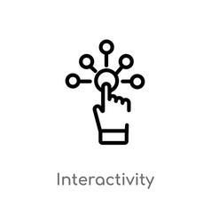 Outline interactivity icon isolated black simple vector