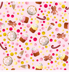 Pattern with ice lolly cookies donuts with cream vector