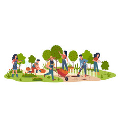 People in garden agricultural workers doing vector
