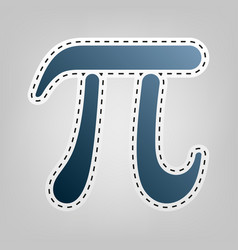Pi greek letter sign blue icon with vector