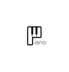 piano logo music design piano icon in flat style vector image