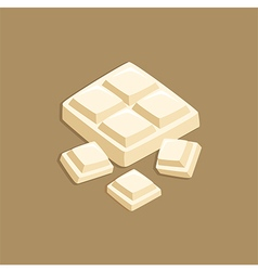 Pieces of White Milk Chocolate Block vector
