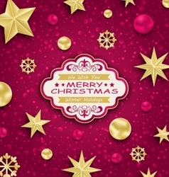 Pink Cute Congratulation Card with Golden vector image