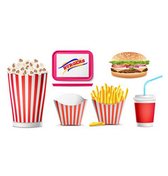 realistic fast food icons set french fries vector image